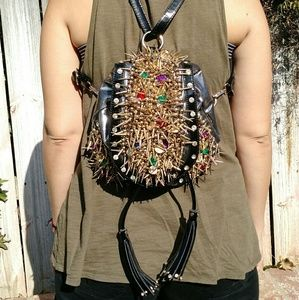 Haiying Snider Bags - Haiying Snider - Silver Gold Spikes Gems Backpack